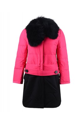 2016 Moncler Rongee Coat Women Detachable Fur Collar Rose