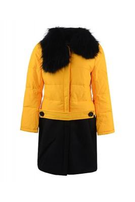 2016 Moncler Rongee Coat Women Detachable Fur Collar Yello