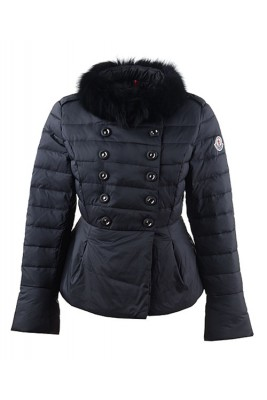 2016 Moncler Top Quality Womens Jackets Fur Collar Black