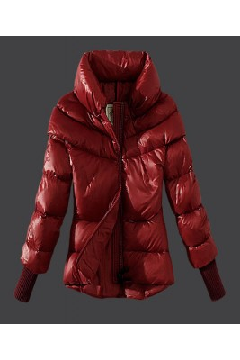 2016 Moncler Windproof Womens Jackets Stand Collar Red