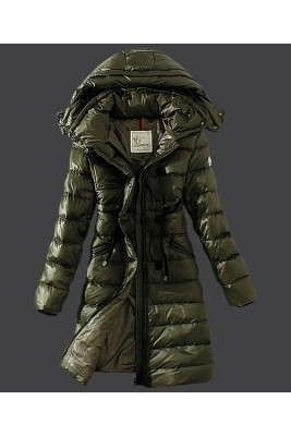 2016 Moncler Winter Down Coat Women Hooded Slim Army Green