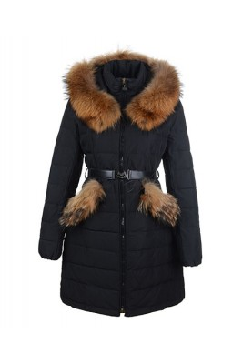 2016 Moncler Women Coat Detachable Cap With Belt Black