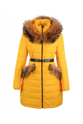 2016 Moncler Women Coat Detachable Cap With Belt Yellow