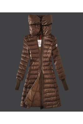 2016 Moncler Women Coat High Stand Collar Windproof Coffee