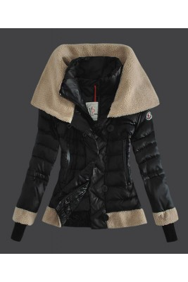 2016 Moncler Women Down Jacket Double Stand Collar Black