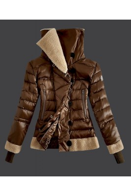 2016 Moncler Women Down Jacket Double Stand Collar Coffee