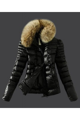 2016 Moncler Womens Down Jackets Zip Fur Collar Black