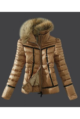 2016 Moncler Womens Down Jackets Zip Fur Collar Light Tan