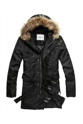 Moncler Coat Men Hooded Fur Collar Black