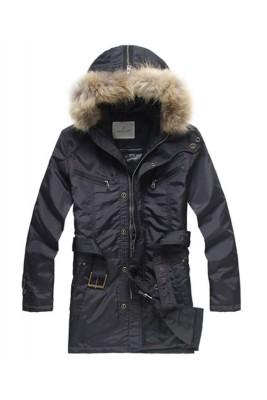 Moncler Coat Men Hooded Fur Collar Blue