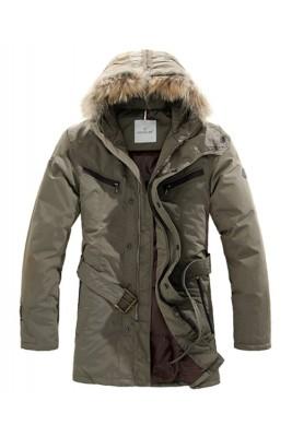 Moncler Coat Men Hooded Fur Collar Khaki