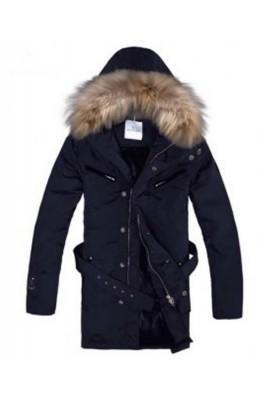 Moncler Coat Men Hooded Fur Collar Navy Blue