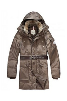 Moncler Down Coats Mens Mid-Length Hooded Coffee