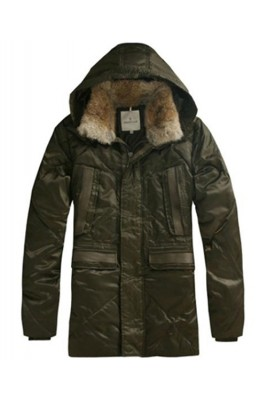 Moncler Men Coat Mid Length Hooded Down Army Green