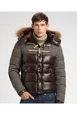 Moncler Anthime Cheap Jacket Men Single-Breasted Brown