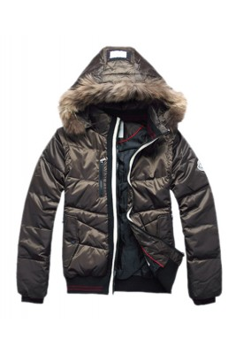 Moncler Down Jackets For Men Rabbit Fur Cap Style Army Green