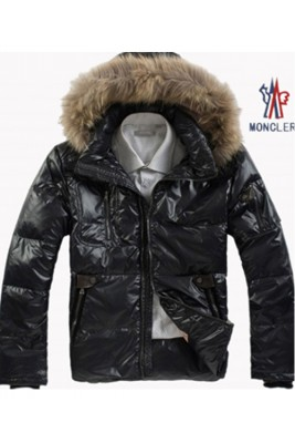 Moncler Down Jackets Mens Zip Raccoon Fur Collar  Black