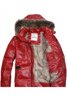 Moncler Down Jackets Mens Zip Raccoon Fur Collar Red