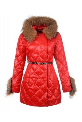 2016 Moncler Coat For Women Hooded With Belt Red