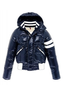 Moncler Leon Down Jackets Mens With Hooded Zip Navy Blue