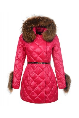 2016 Moncler Coat For Women Hooded With Belt Rose