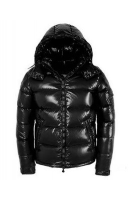 Moncler Maya Winter Down Jacket Mens Short Glossy Zip Black