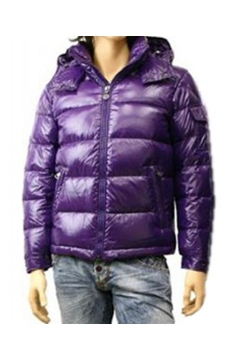 Moncler Maya Winter Down Jacket Mens Short Glossy Zip Purple