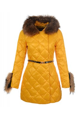 2016 Moncler Coat For Women Hooded With Belt Yellow