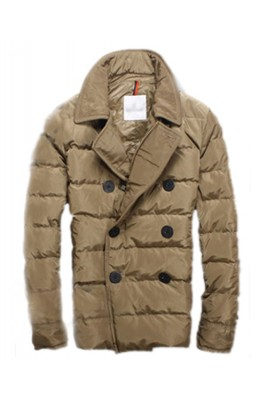 Moncler Top Quality Down Jacket Handsome Men Button Brown
