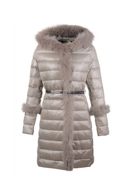 2016 Moncler Coats Womens Hooded Fur Collar Gray