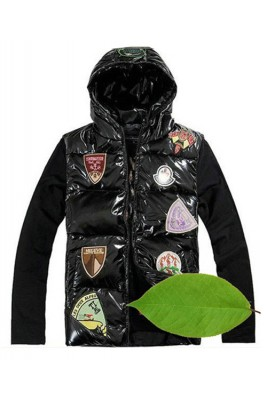 Moncler Discount Down Vest For Men Multiple Logo Black