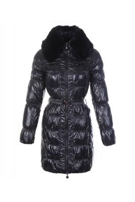 Moncler Classic Down Coat Women Zip Fur Collar With Belt Black