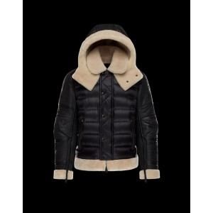 2017 New Style Moncler Down Jackets Mens Single Breasted Raccoon Fur Collar Black