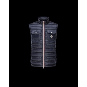 2017 New Style Moncler Unisex Down Vests Zip Style Navy