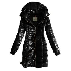 Moncler Coat Women Gold Zip Hooded Black Long