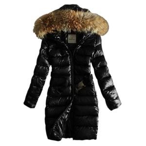 Moncler Coats Women Pure Color Hooded Fashion Black