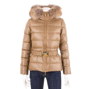 Moncler Angers Womens Jackets Decorative Belt Hooded Gold