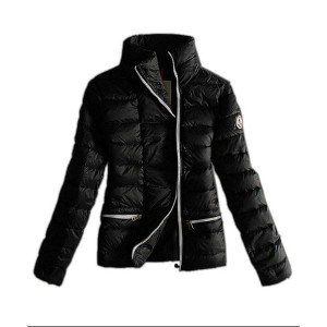 Moncler Down Jackets Womens White Zip Pure Color Black