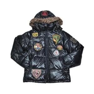 Moncler Multiple Logo Men And Women Down Jacket Hooded Dark Blue