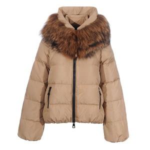 Moncler Sauvage Down Jackets Women Zip Fur Collar Cream