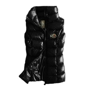 Moncler Designer Womens Down Vests Pure Color Black