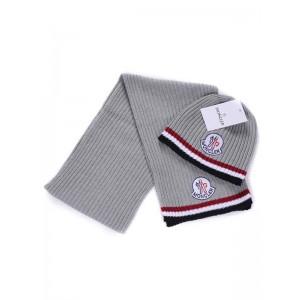 Moncler Scarf & Caps Pure Cotton Gray