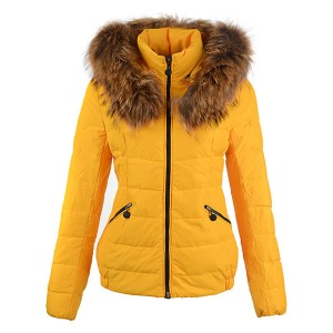 2016 Moncler Jackets For Women Detachable Cap Yellow