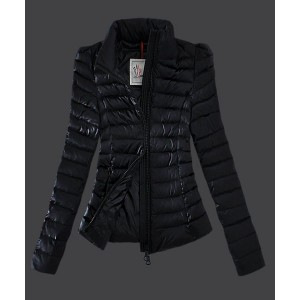 2016 Moncler Jackets Womens Zip Slim Stand Collar Black