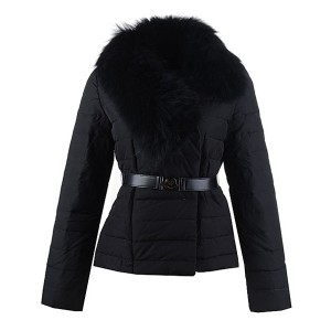 2016 Moncler Polygale Jacket Women Collar With Belt Black