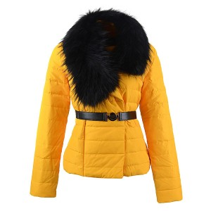 2016 Moncler Polygale Jacket Women Collar With Belt Yellow