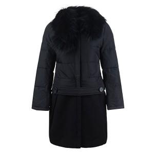 2016 Moncler Rongee Coat Women Detachable Fur Collar Black