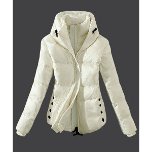 2016 Moncler Top Quality Womens Down Jackets Zip White