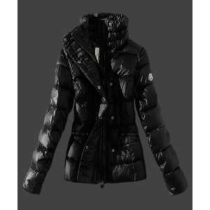 2016 Moncler Womens Down Jackets Stand Collar Slim Black