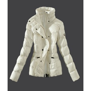 2016 Moncler Womens Down Jackets Stand Collar Slim White